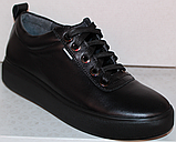 Черные кроссовки женские кожаные от производителя модель РИ034-1, фото 2