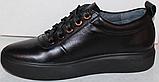 Черные кроссовки женские кожаные от производителя модель РИ034-1, фото 3