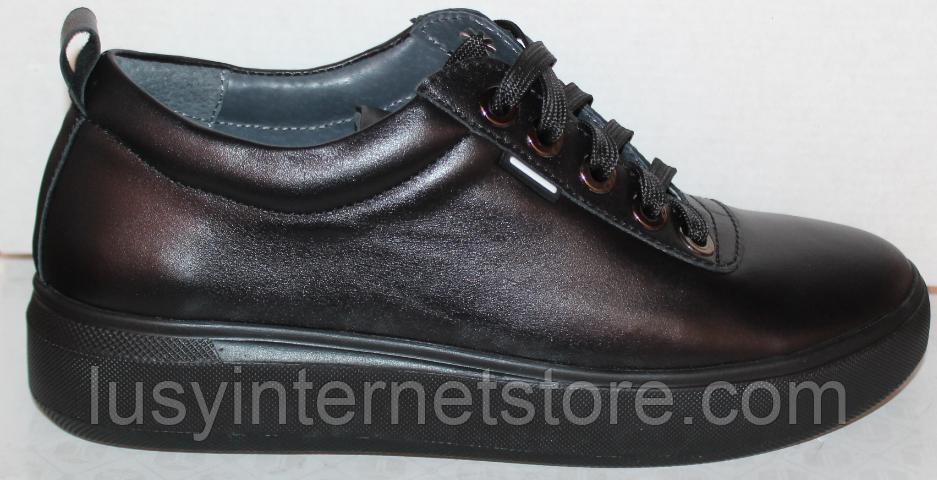 Черные кроссовки женские кожаные от производителя модель РИ034-1