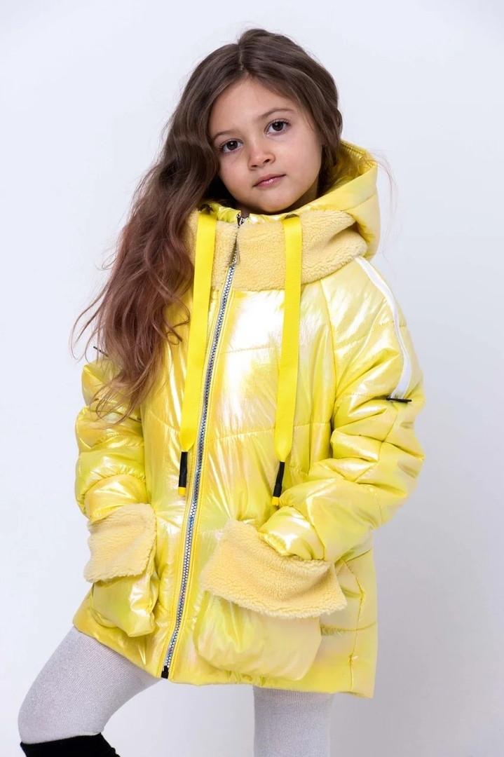 Демисезонная модная курточка для девочки с отделкой искусственным мехом на рост 134-158