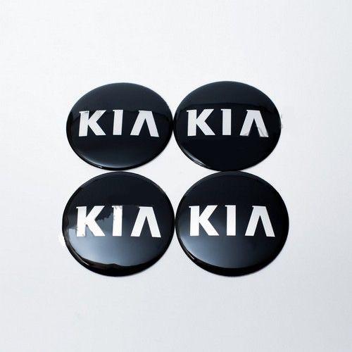 Наклейки на колпачки Kia черные/хром лого 65 мм
