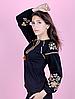 Вышиванка для девочек-подростков с длинным рукавом, черная, фото 3