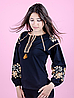 Вышиванка для девочек-подростков с длинным рукавом, черная, фото 2