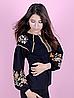 Вышиванка для девочек-подростков с длинным рукавом, черная, фото 4