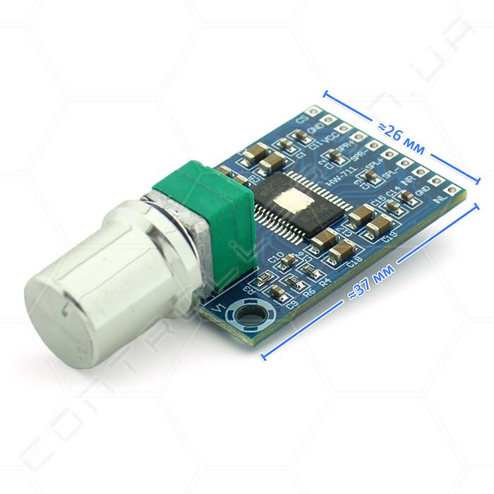 Аудио усилитель XH-M562 TPA3116D2 mini D-класса с регулятором громкости. 2x50Вт