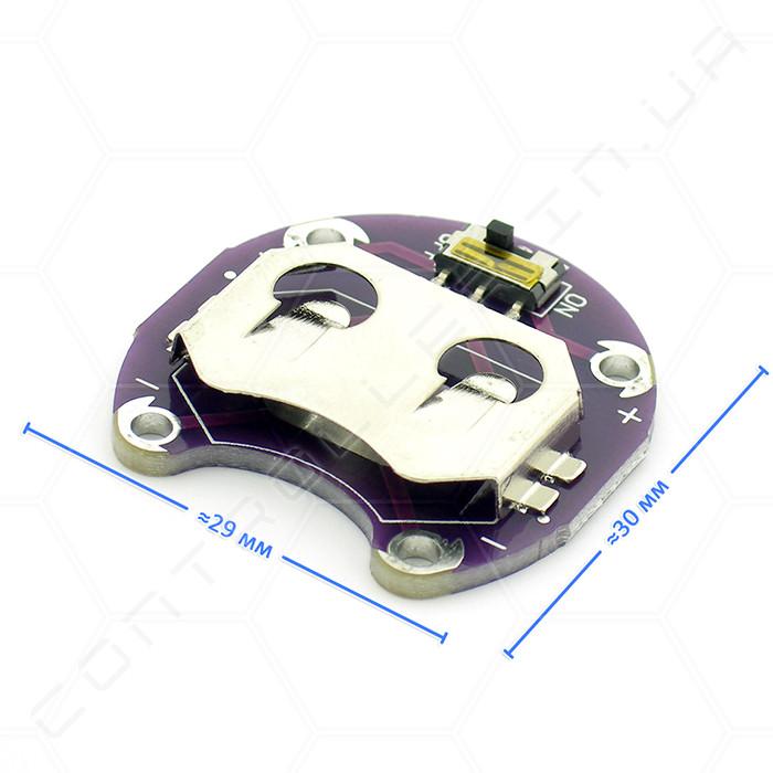 Відсік LilyPad для однієї батарейки CR2032 з вимикачем