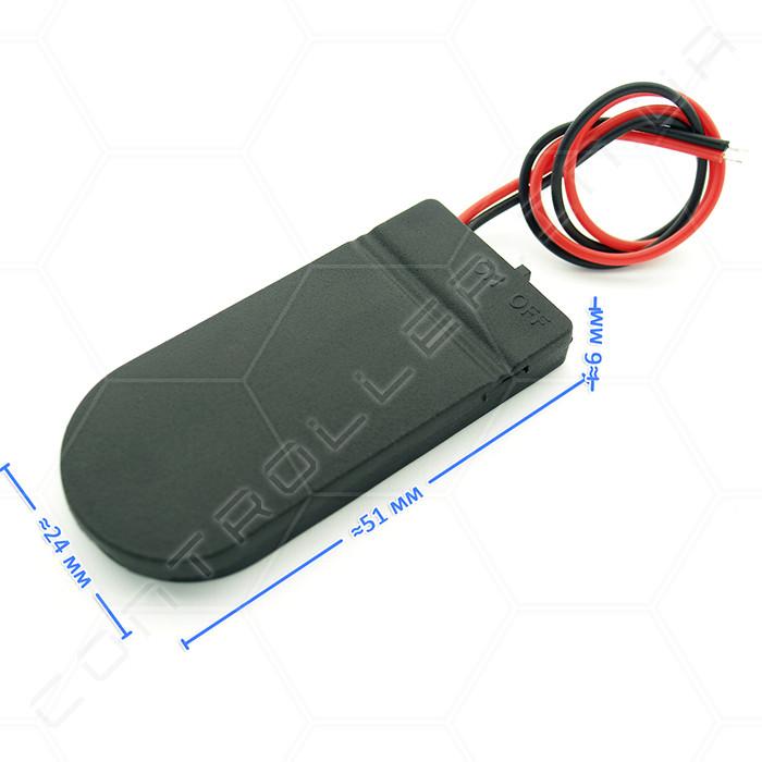 Отсек для двух батарейки CR2032. С выключателем. Черный.