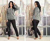 Женский брючный костюм двойка кофта и штаны жаккард+костюмный габардин размер:48-50, 52-54, 56-58, 60-52, фото 1
