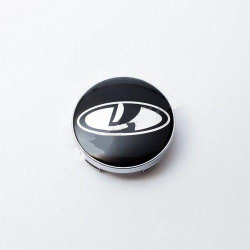 Колпачки в легкосплавные диски Lada черные/хром лого (60 мм)