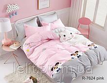 Детский полуторный комплект постельного белья с компаньоном R7624 pink