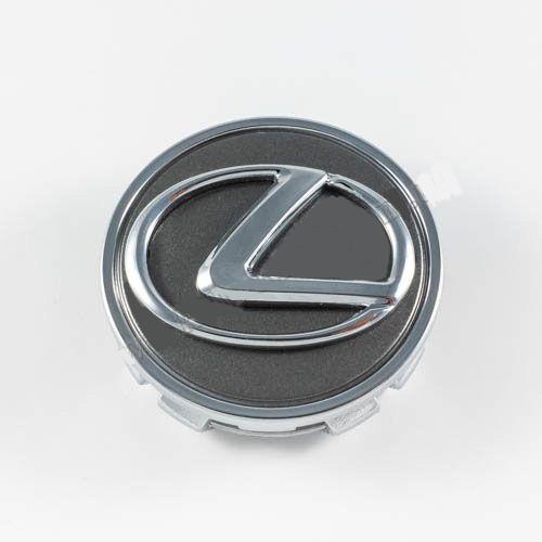 Колпачок в легкосплавные диски Lexus графит/хром лого/хром кант (62 мм)