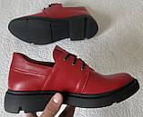 Moncler туфли! Женские осенние кожаные полуботинки на толстой подошве на шнурках красного цвета, фото 7