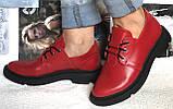 Moncler туфли! Женские осенние кожаные полуботинки на толстой подошве на шнурках красного цвета, фото 9