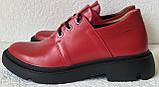 Moncler туфли! Женские осенние кожаные полуботинки на толстой подошве на шнурках красного цвета, фото 6