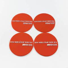 Наклейки для колесных колпачков в легкосплавные диски с логотипом   Work Emotion красные (45 мм)