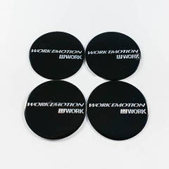 Наклейки для колесных колпачков в легкосплавные диски с логотипом   Work Emotion черные (45 мм)