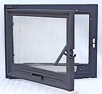 Дверь каминная, 600х500, со стеклом чугунная, окрашенная.