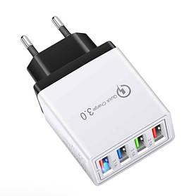 СЗУ Адаптер Fast Charge 220v 4 Port Швидка зарядка QC 3.0 USB Hub