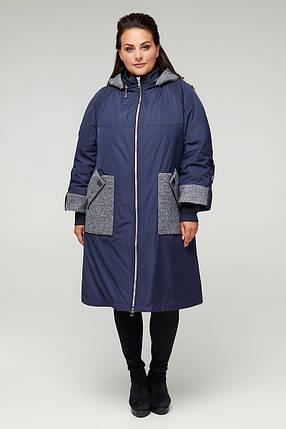 Стильное демисезонное пальто из плащевки CR-10556-5 больших размеров от  56 до 68, фото 2
