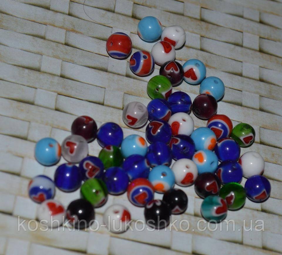 Бусина стеклянная  круглая 8 мм