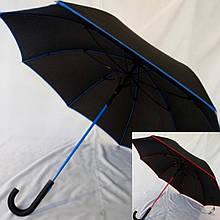 Зонт трость чёрная  только  с  красной  каймой на 8 спиц