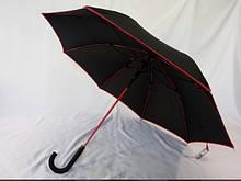 Зонт трость чёрная  только  с  красной  каймой на 8 спиц чёрный с красным