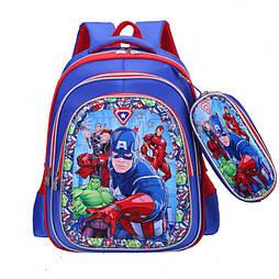 """Школьный рюкзак  """"Капитан Америка"""" с пеналом 1-4 класс  для мальчика 3D"""