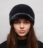 Норковая шапка женская Жокейка солнышко Синий ирис, фото 1