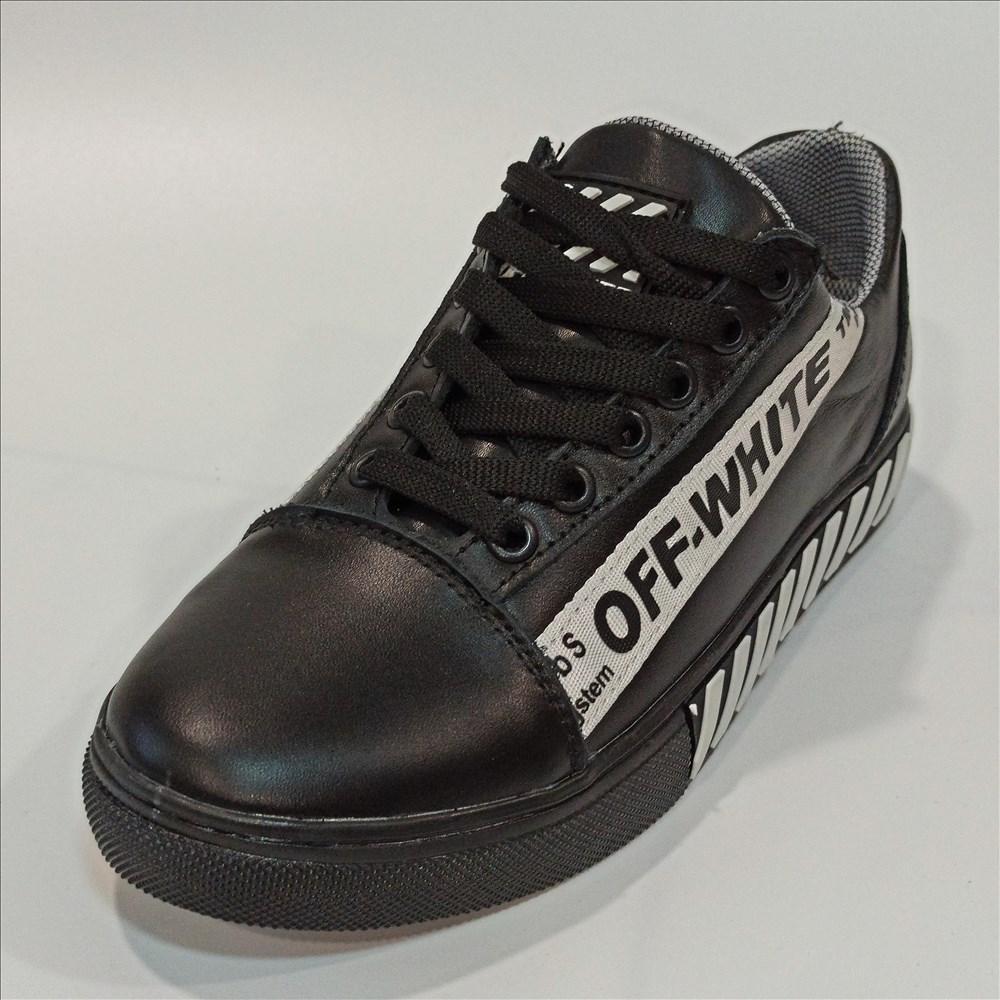 Кожаные кеды-кроссовки в стиле Offwhite, mod.1 размер  37