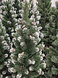 """Новогодняя елка """"Лидия"""" зеленая с белыми кончиками и шишками 2.2 м, фото 2"""