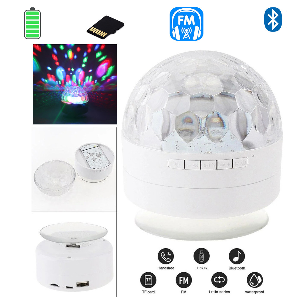 Портативная колонка Bluetooth Ukc AQ9 LIGHT светодиодный диско шар MP3 LED светомузыка Белый