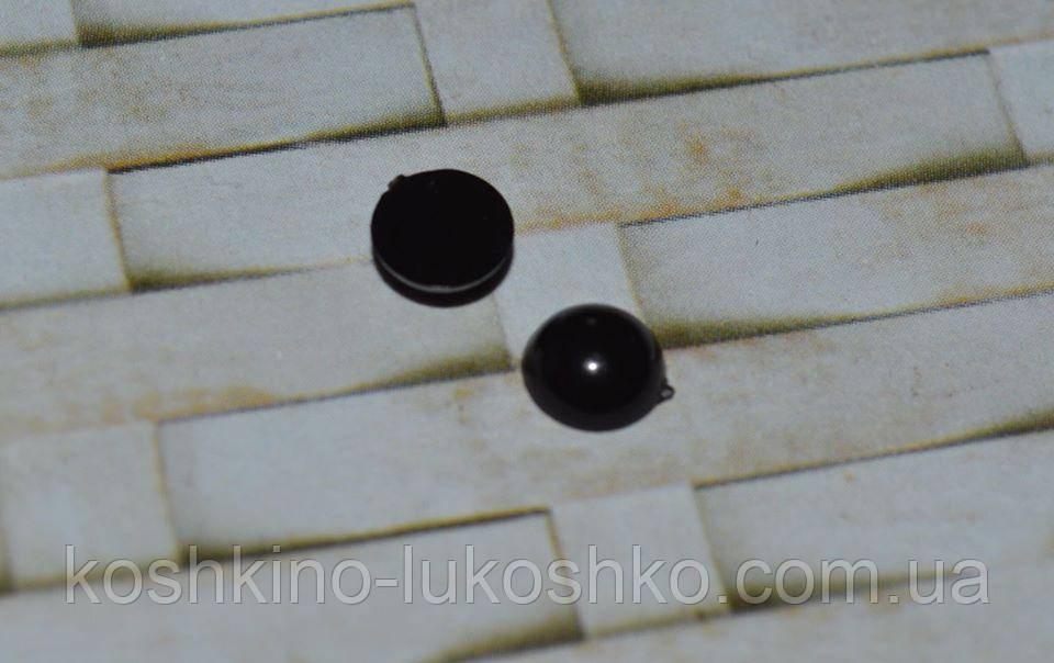 Глаза черные полубусина пластик. 6 мм