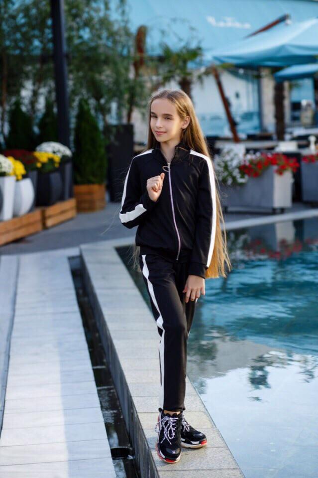 Подростковый спортивный  костюм с лампасами для девочки на рост 134-152