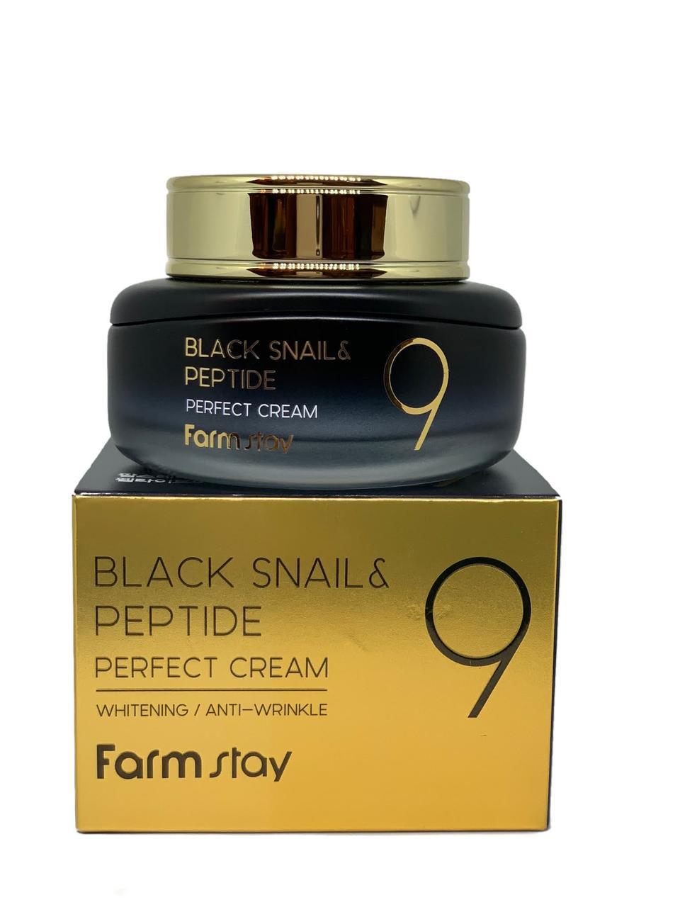 Омолоджуючий крем з муцином чорного равлика і пептидами FARMSTAY Black Snail & Peptide 9 Perfect cream