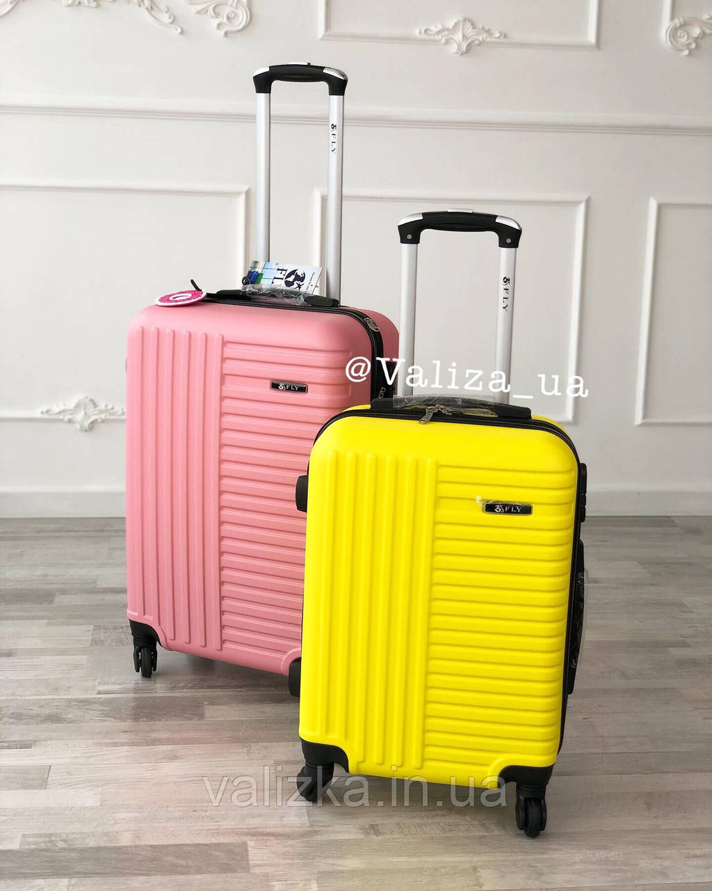 Пластиковый чемодан желтый маленький ручная кладь