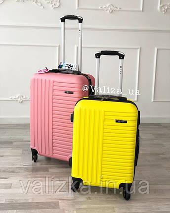 Пластиковый чемодан желтый маленький ручная кладь, фото 2