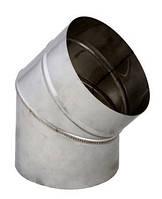 Комплектующие для устройства дымохода из нержавейки Sanco Колено дымоходное из нержавейки одностенное 120/45°  0,5мм