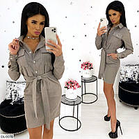 Вельветовое облегающее короткое женское платье рубашка с поясом арт 1317