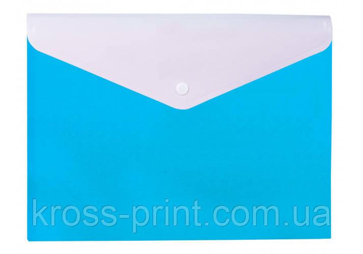 """Папка-конверт А4 """"Вишиванка"""" на кнопці, на 2 відділення, блакитна"""
