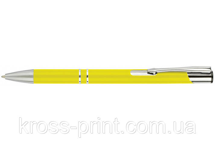 Ручка кулькова металева ECONOMIX HIT. Корпус жовтий, пише синім