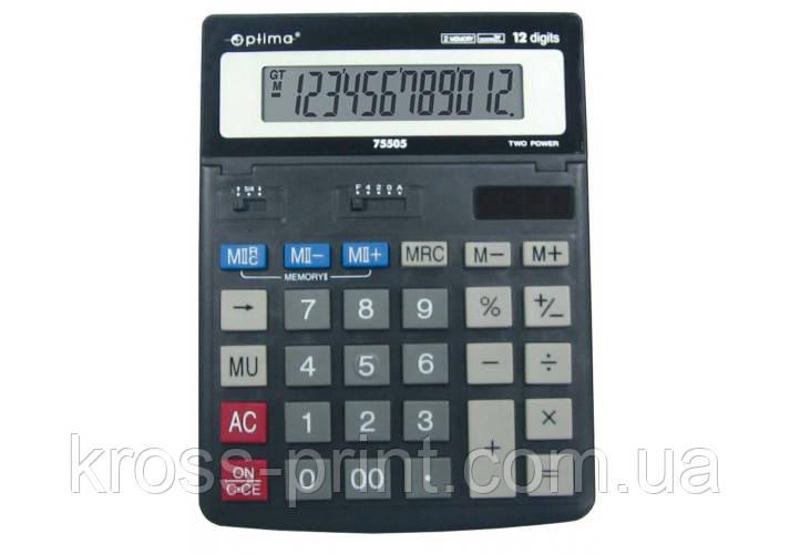 Калькулятор настільний Optima 12 розрядів, розмір 180*108*21,5 мм