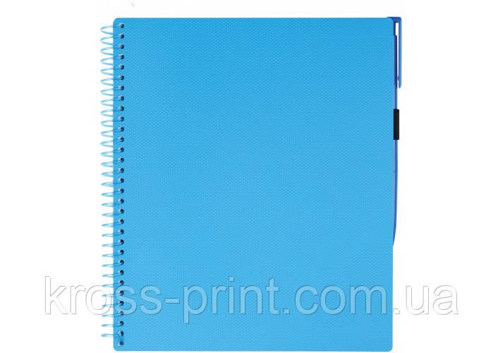 """Блокнот """"Splash"""" з ручкою на гумці, без наліпки на обкл, 175х206мм, пластикова обклад, синій"""