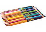 """Олівці кольорові """"Dual Jumbo Extra Soft """" 12 шт, двосторонні, тригранні, фото 2"""