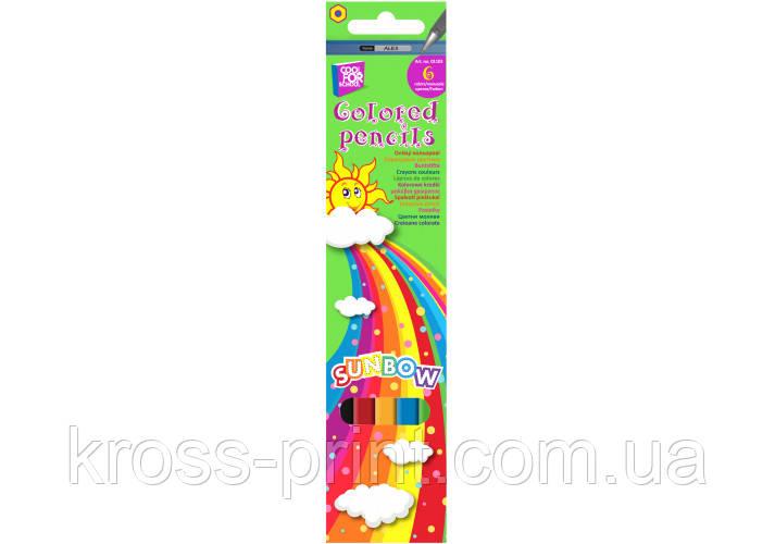 """Олівці кольорові """"Sunbow"""", 6 кольорів"""