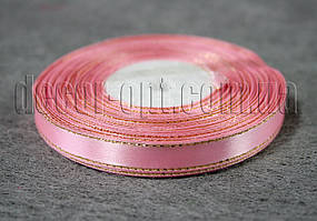 Лента атласная с люрексом бледно-розовая 1,0 см 36ярд 04