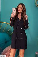 Стильное платье-пиджак с сеткой на рукаве арт 130