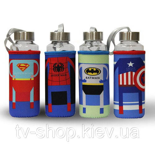 Стеклянная бутылка  Супергерои в термочехле,400 мл