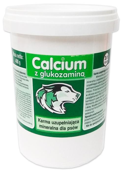 КАЛЬЦИУМ Канвит Can-Vit CALCIUM ЗЕЛЕНЫЙ с глюкозамином для суставов крупных быстрорастущих собак, 400 гр.