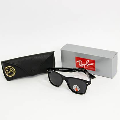 Солнцезащитные очки RAY BAN Wayfarer поляризационные антибликовые UV400 (арт. 2140P) черные, фото 2