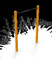 Спортивно-игровой тренажер деревянный одинарный Турник для детской площадки для детей от 12 лет 170х15х252 см